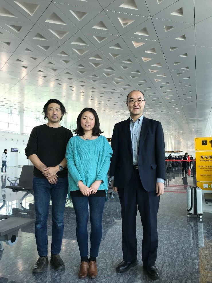 With Prof. Tateiwa and Prof. Nagase at the Wuhan Airport before returning to Japan.